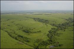 Aerial view of watershed in tall grass prairie near Eureka, Kansas